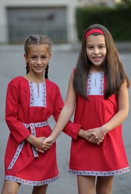 Детска елегантна рокля с шевица BORIANA RED LUX KIDS