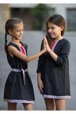Стилна детска черна рокля BORIANA BLACK KIDS