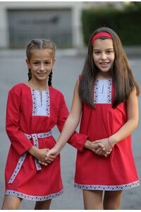 Детска стилна рокля с шевица BORIANA RED KIDS