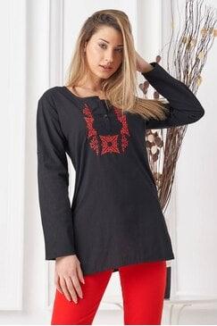 Памучна черна риза с бродерия SIRMA