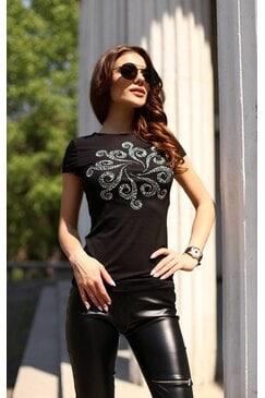 Дамска памучна черна тениска с камъни LOVIX
