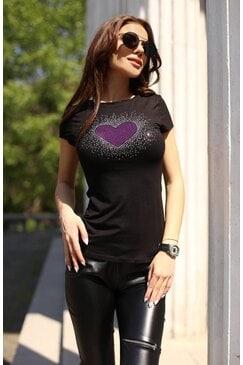 Елегантна дамска тениска с камъни HEART VIOLET