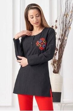 Дамска черна памучна риза с шевица BOGDANA