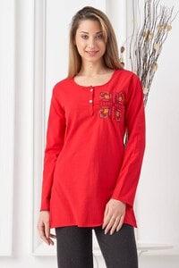 Памучна червена блуза с шевица SVETLA