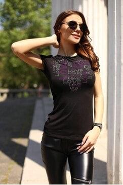 Стилна дамска черна тениска с камъни LIPS
