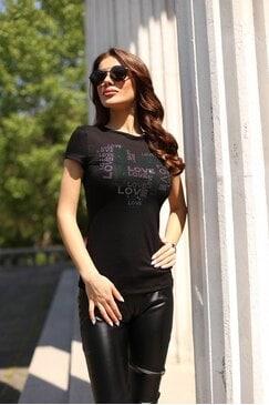 Дамска памучна черна тениска с камъни LOVIX PINK