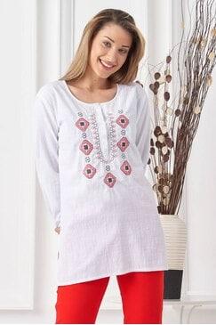 Бяла дамска риза с шевица BLAGOVESTA