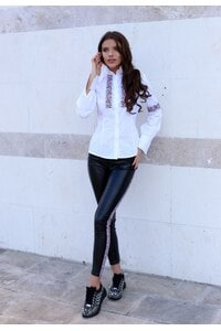 Стилна бяла дамска риза с шевица BORIANA