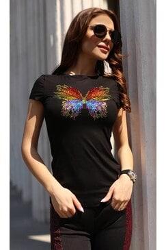 Стилна дамска черна тениска с камъни BUTTERFLY