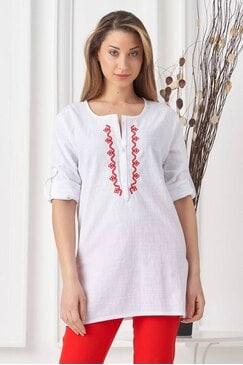 Дамска бяла памучна риза с шевица RADA LUX