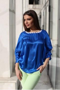 Елегантна копринена дамска блуза BLUE SILK