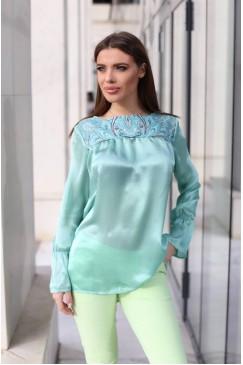 Стилна копринена дамска блуза GREEN SILK