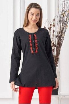 Дамска черна блуза с шевица RADA BLACK