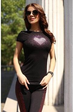 Стилна дамска тениска с камъни HEART PINK