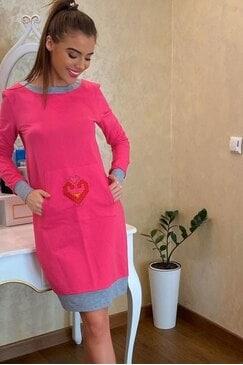 Стилна дамска спортна розова рокля SLAVAPINK