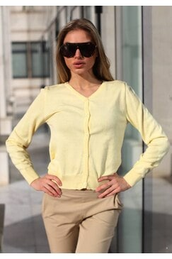 Памучна жълта дамска жилетка MELON