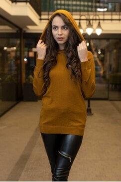 Дамски пуловер с качулка YELLOW SNAKE