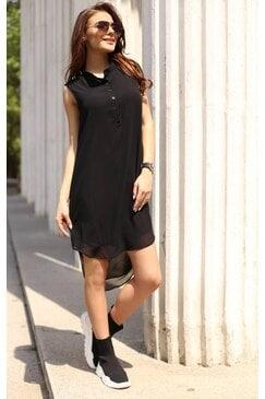 Елегантна дамска черна рокля със свободен силует VIOLA