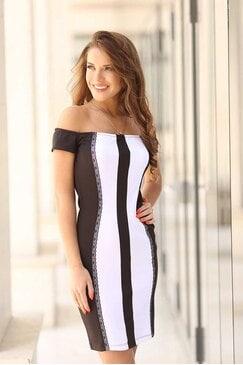 Елегантна рокля в черно и бяло ALANIA