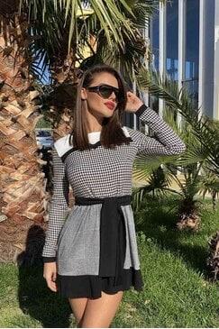 Ежедневна дамска рокля с пепит и каре RIVERT LUX