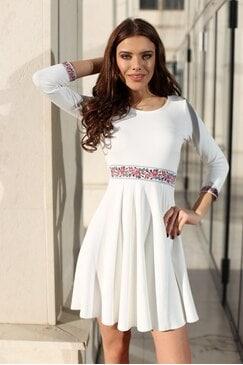 Стилна бяла дамска рокля KOKETNA WHITE LUX