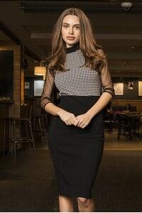 Елегантна рокля в черно и пепит Kalina