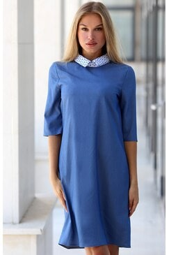 Синя елегантна рокля MENOLA