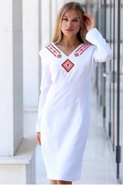 Ленена рокля с бродерия MIHAELA RED