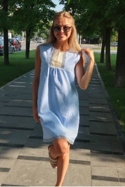 Елегантна рокля с шевица BORIANA LT BLUE