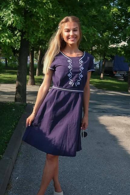 Памучна синя рокля с шевица RADA NAVY