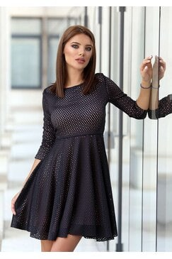 Черна дамска рокля с лазерно изрязване RECALL BLACK