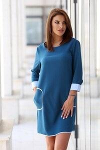 Дамска синя рокля с кант BUZZ