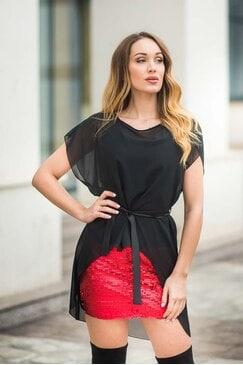 Официална рокля с пайети RED WISH