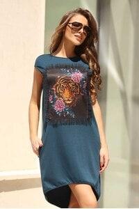 Елегантна дамска рокля JUNGLE BLUE