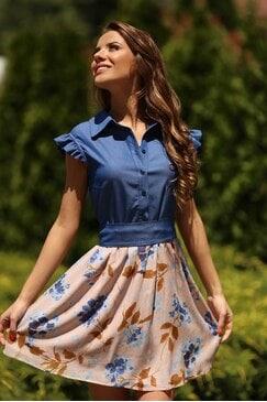 Стилна къса дамска рокля MADLEN