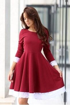 Стилна червена рокля KOKETNA WINE