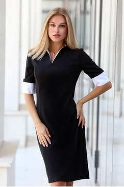 Черна секси дамска рокля с маншети MANON
