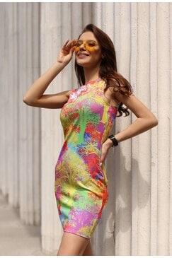 Стилна дамска рокля с дизайнерски принт KATERINA