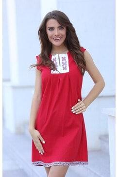 Червена рокля с шевица BORIANA RED LUX
