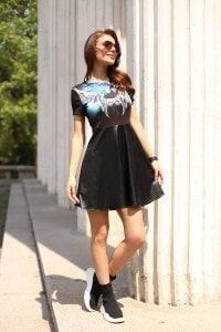Ежедневна черна рокля ANGELS