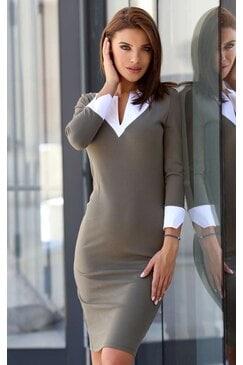 Стилна дамска рокля с бяла яка и маншети MERISELA
