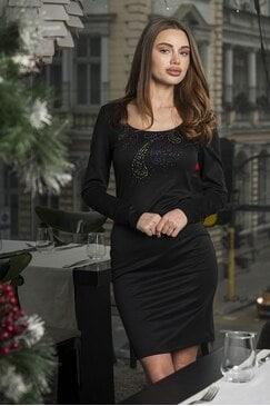 Елегантна черна рокля с камъни Divna