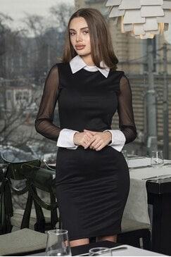 Стилна рокля с бяла яка и маншети Julieta