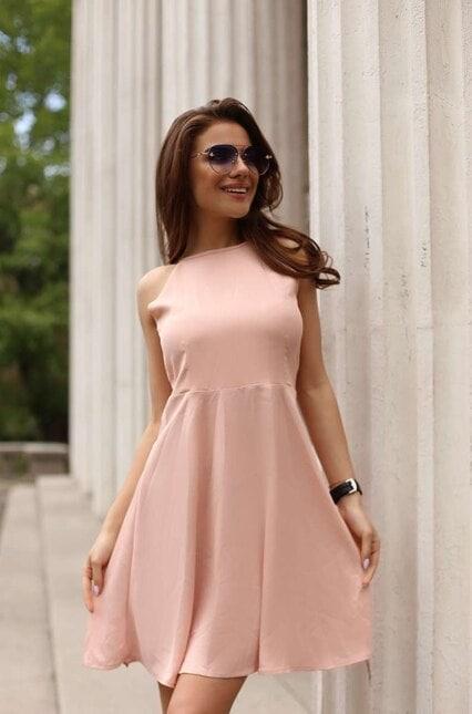 Ежедневна дамска разкроена рокля KOKETNA PEACH