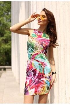 Елегантна дизайнерска рокля с принт DELIRIUM PINK