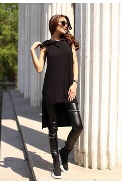 Елегантно черно стилно дамско hoodie с дълъг гръб AKASHA
