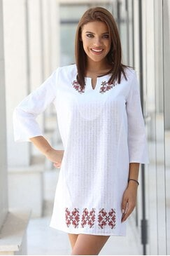 Памучна рокля с шевици VIARA