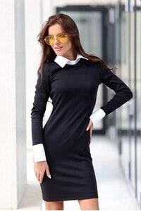 Стилна дамска рокля с яка ARTERY BLACK