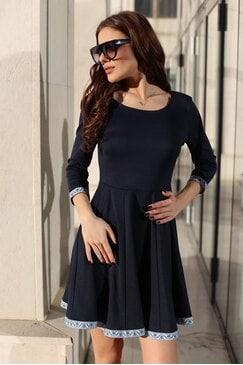 Стилна синя дамска рокля KOKETNA NAVY LUX