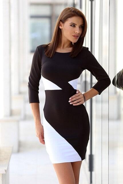 Бяло черна елегантна дамска рокля BREATHE